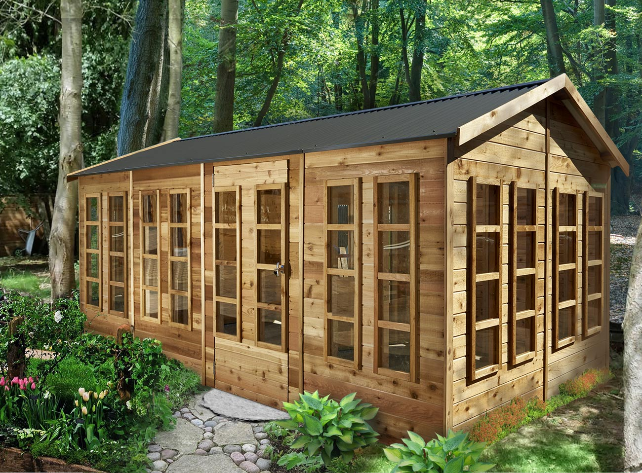 Cedar shed somerton 4 8mx2 5m 5 landera for Garden shed large