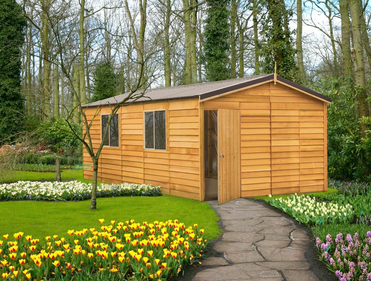 Cedar shed macedon deluxe 3 8mx6 0m 8 landera for Cheap small garden sheds