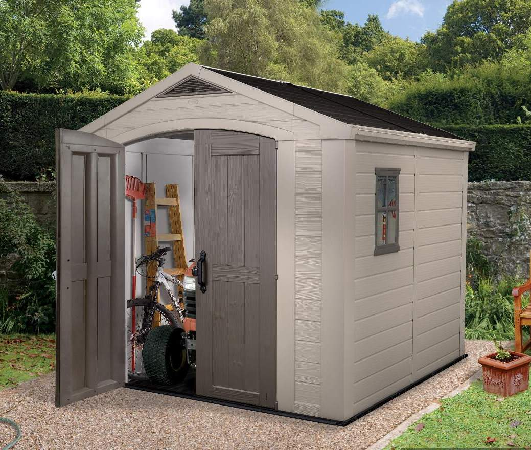 Keter factor 8 x 8 shed ofc88 2 landera for Outdoor tool shed