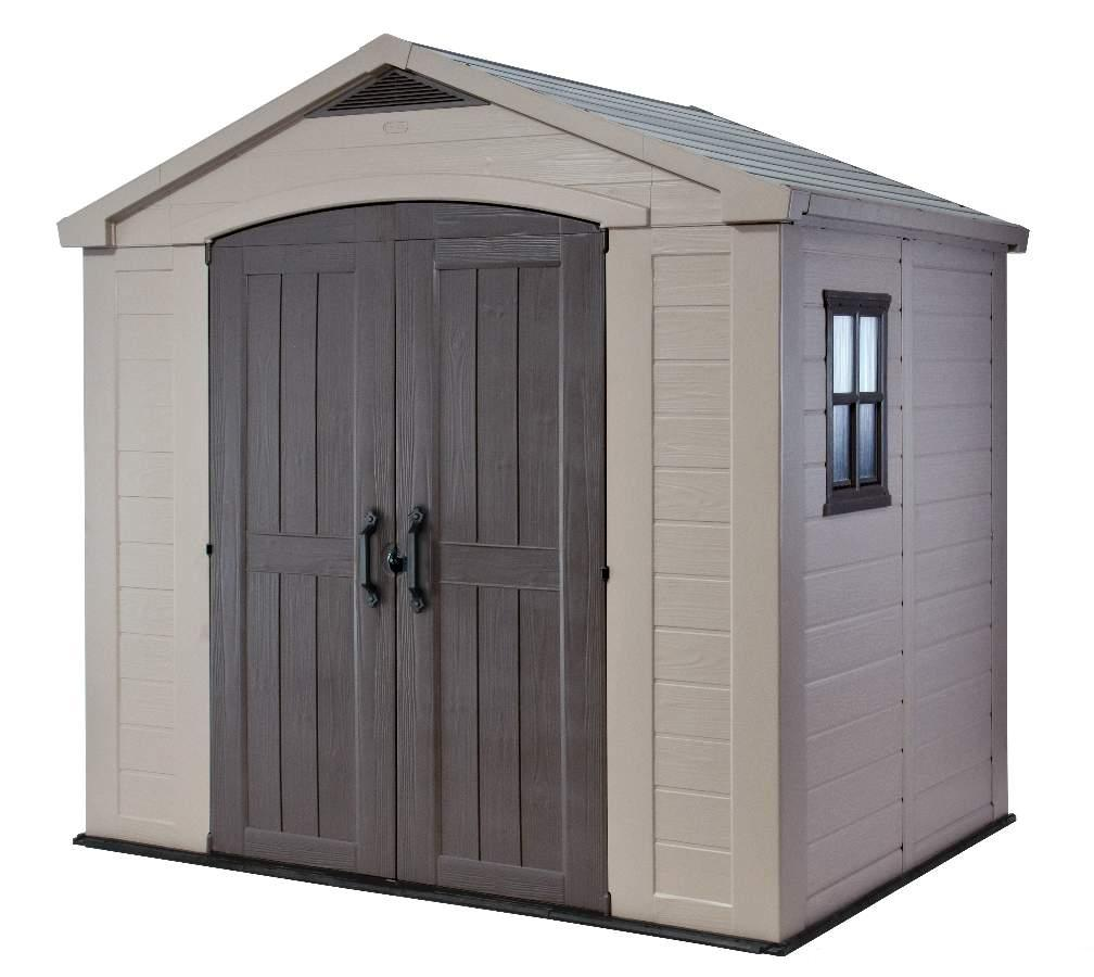 Keter factor 8 x 6 shed 1 landera outdoor for Caseta de pvc para jardin