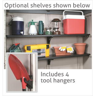 Keter factor 8 x 11 shed 2 landera outdoor for Attaching shelves to plastic shed