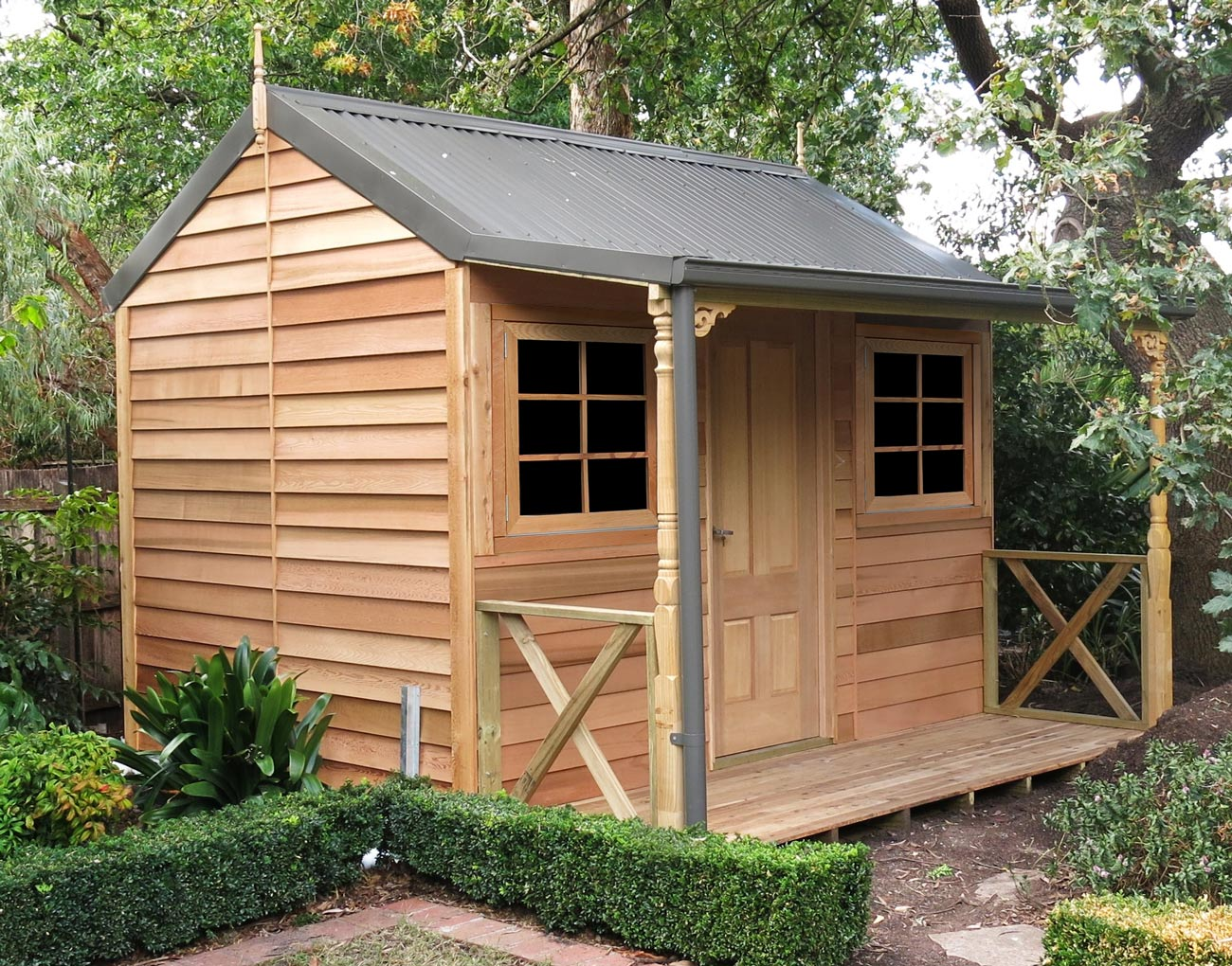 Cedar settlers hut 3 6mx2 6m 6 landera for Storage huts for garden