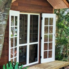 Our French doors, painted white